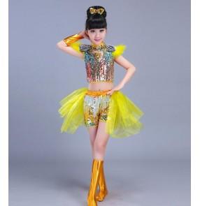 Light pink yellow green royal blue boys kids children girls performance jazz singers dancers hip hop dancing outfits costumes