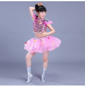 Light pink yellow royal blue green red paillette girls kids children stage chorus performance jazz singers ballet tutu skirt dresses