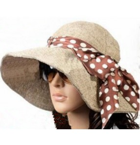 Linen Summer Hat Women  Wide Brim Sun Hat Wedding Church Sea Beach Hats for Women Floppy Ladies Hat with Bow