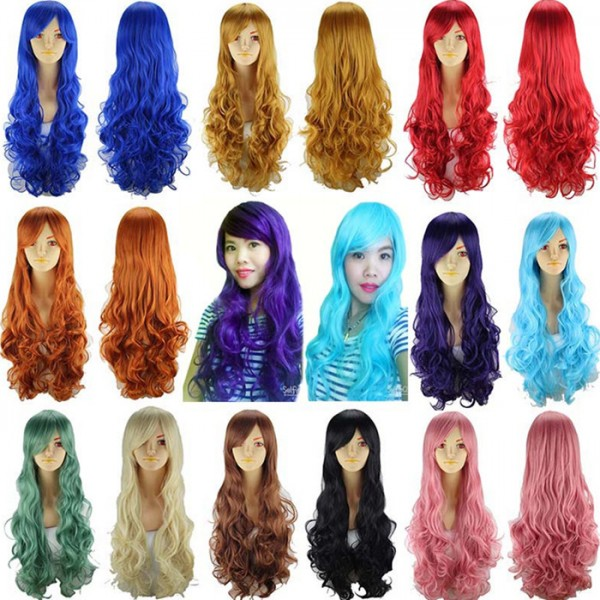 Long Wavy heat Resistant Synthetic hair Yellow gold white silver ...