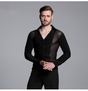 male competition performance  Black Waltz Latin Dance Top Men Latin Dance Shirts Men Ballroom Dance Shirt