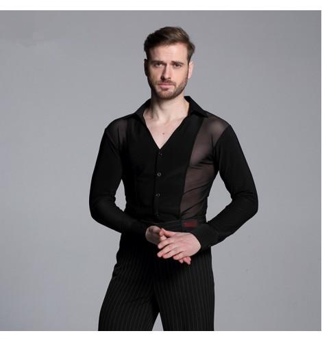 29e9b4daf6f6 male competition performance Black Waltz Latin Dance Top Men Latin Dance  Shirts Men Ballroom Dance Shirt