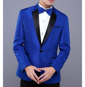 male costumes stage wear Red royal blue nightclub bar singer jazz dancing blazer suit show performance jacket