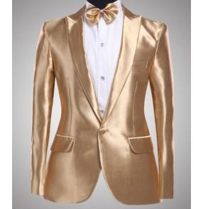 male gold suit blazer set costume men's clothing married suit groom wear set for singer dancer emcee star performance nightclub