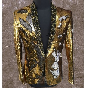 men clothing fashion slim Singers jazz performance DJ Hair Stylist Sequins suit jacket studio the host dancE stage singer costumes