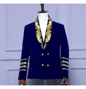 Men European gold wine black royal blue velvet blazer for party mens jazz singers jacket suit clothing to festival/wedding
