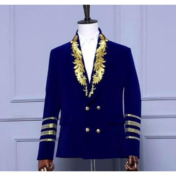 Men European Gold Wine Black Royal Blue Velvet Blazer For