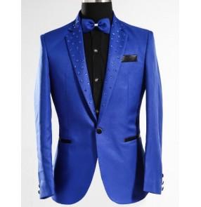 Men New style fashion Royal blue male singer DJ slim gentleman party dj ds costume sequins blazer dancing jazz jacket men's coat