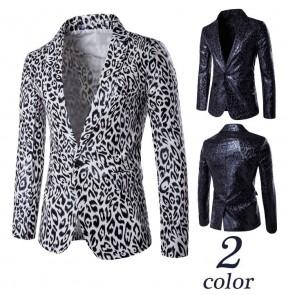 Men's Fashion Cool Dance Nightclub Jazz singers performance Suit Jacket Men White Leopard Leopard Print Jacket Suit Design Size XXXL