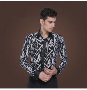 Men's white and black printed latin dance shirt turn down collar