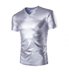 Mens Trend Night Club Coated Metallic Gold Silver T-Shirts Stylish Shiny Short Sleeves T shirts Tees For Men