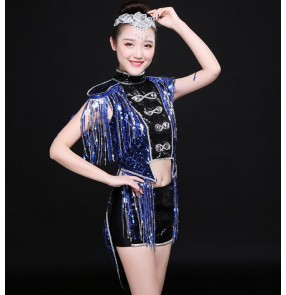 Navy blue sequins paillette modern dance fringes women's ladies performance jazz singers ds dj nigth club pole dance outfits