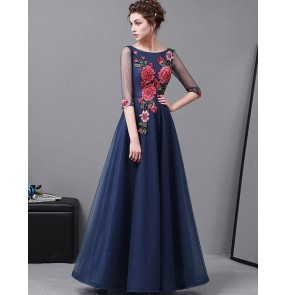 Navy rose flowers Elegant O-Neck A-Line long length embroidery Evening Dress Prom Dresses Robe De Soiree Party Dress With Half Sleeves