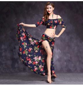Navy rose flowers peacock printed Dress girls ladies Belly Dance Costumes Women Stage Performance Skirt  costumes