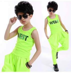 Neon green boys kids children  toddlers performance modern dance hip hop competition rehearsal dance outfits vest and harem pants