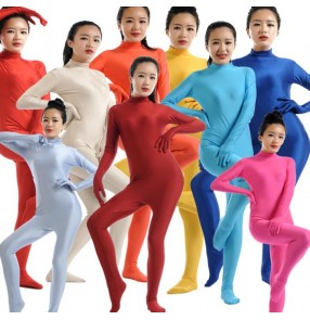 Neon green red royal blue fuchsia black silver purple pink turquoise lycra long length women's children cosplay performance bodysuit unitard