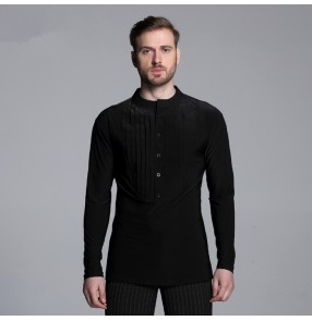 New Arrival men's male Professional Mens Ballroom Shirts Black/Stripe Ballroom Dance Tops Jazz/Waltz/Latin Dance Tops