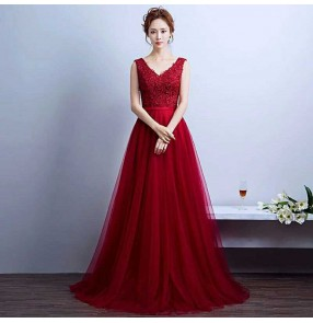New arrival wine red women'a bridesmaid sexy party evening dresses Vestido de Festa A-line appliques beading gown V-neck dress with Lace up back