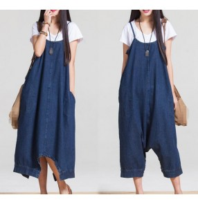 New Denim Jumpsuits Pocket Rompers Stripped Loose Plus Size Women Fashion Casual Denim Overalls Harlan Jumpsuits