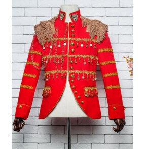 new fashion men's black Red slim sequins nightclub bar outerwear jacket costume male dj singer dance stage coat jazz blazer