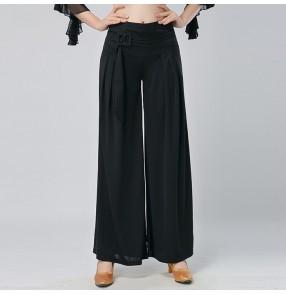 new Fashion women's swing  ballroom summer waltz dance pants trousers wide leg pants National dance pants leg swing loose tide