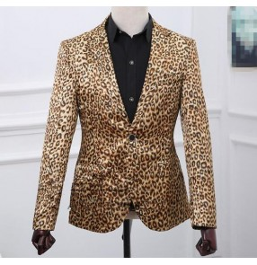 New Men's leopard suit jacket Korean version men small blazer jazz bar dance nightclub games singer stage costumes