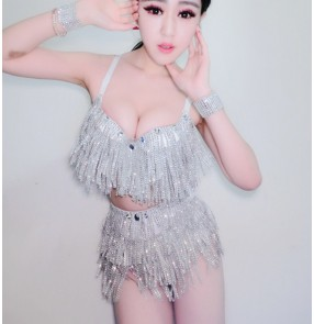 New Sexy  Silver fringes Jazz Dance Stage Costumes For Singers Hip Hop Dance Costume Female Ds Dj Rhinestone Nightclub outfits