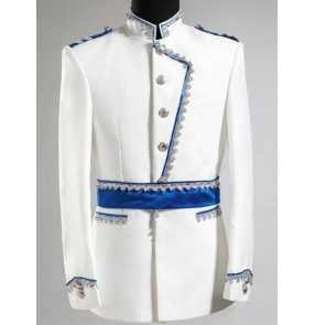 New Stage Costumes Club Singer white blue concert drama performance prince jazz dance jackets Blazer Stage for Men