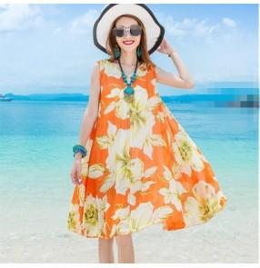 Orange flower printed fashion women's ladies summer female slash neck boat neck off shoulder short sleeves Draw string waist A pleated Skirt dressesvestidos