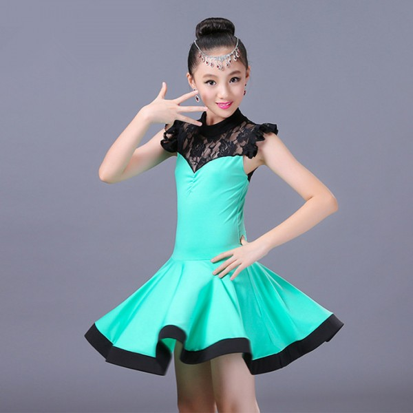 21ad255d1f ... new release c3200 0d227 Orange turquoise Child Kid Children lace Latin  Dance Dress For Girls Samba ...