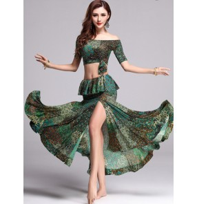 Peacock green Sexy Belly dance costume set for women/female/girl bellydance performance wear Practice dresses top and skirts