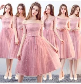 Pink party celebration Simple Mermaid Off-the-Shoulder Bridesmaid Dress Maid of Honor Dress Vestido Para Madrinha De Casamento