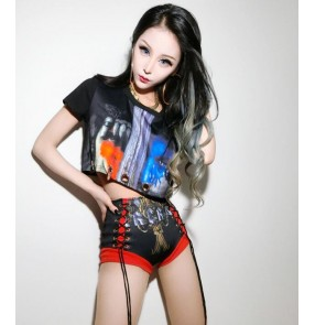Printed fashion women's ladies performance jazz singers ds hip hop leader dancers cosplay outfits costumes