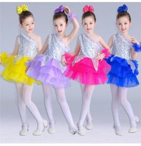 Purple royal blue violet fuchsia yellow sequins patchwork sequins one shoulder modern dance girls jazz singers dance dresses