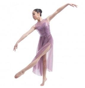 Purple sequins paillette  modern dance long length women's ladies ballet dance dresses costumes outfits