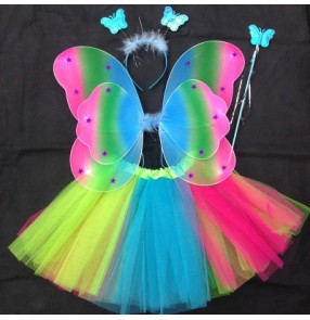 Rainbow colored girls kids children fancy party cosplay dance angels wings and skirts performance outfits costumes