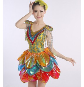 Rainbow colored petal glitter modern dance party cosplay singers stage performance jazz dj ds night club dance dresses