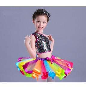 Rainbow colored sequins paillette  modern dance jazz singers performance party ballet princess chorus dancing dress outfits