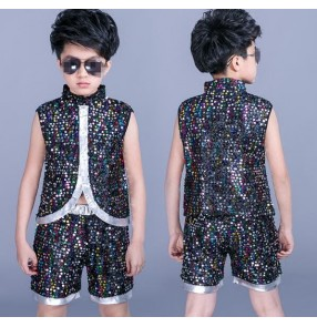 Rainbow sequins glitter performance competition boys kids school hip hop jazz magician dance vests shorts outfits