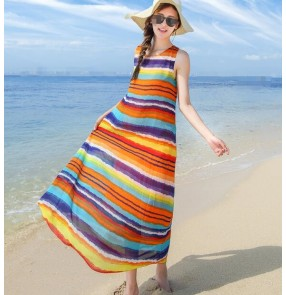 Rainbow striped patchwork exposure shoulder fashion mini length girls women's summer slim dresses maxi vestidos