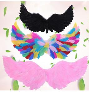 Rainbow white black pink feather fashion fairy girls kids modern dance singers performance props angel birds wings
