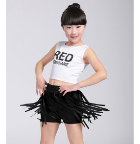 Red and black white and black split set boys kids children competition performance jazz hip hop cheerleaders dance costumes outfits