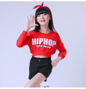 Red and black white patchwork girls kids children school competition hip hop jazz performance outfits costumes