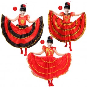 Red black girls kids children stage performance competition flamenco ballroom Spanish bull dance dresses skirts
