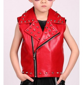Red boys kids children Singer DS Dance Costume Wear rivet leather hip hop drummer competition Veste Jazz Dance Clothes Suit