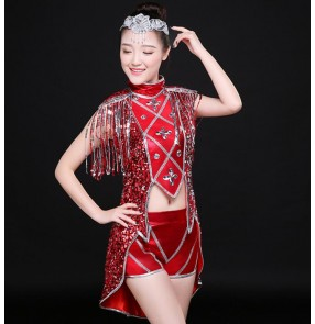 Red rhinestones sequins  fringes modern dance girls ladies women's jazz singers ds dj dancers pole dance outfits costumes outfits