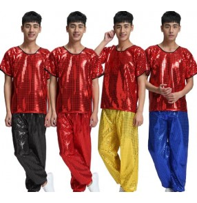 Red royal blue silver gold sequins paillette short sleeves top men's singers dancers performance hip hop jazz street dance outfits