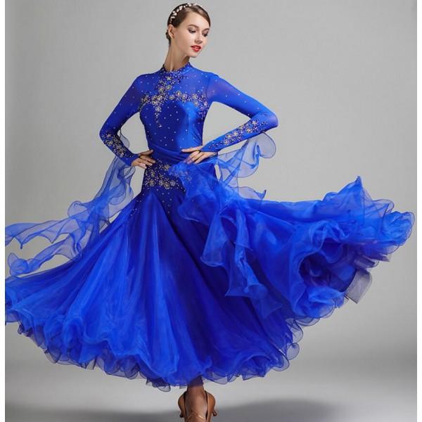 e373bcfe4 Red royal blue yellow purple Ballroom Dance Competition rhinestones Dresses  ballroom Standard dance long dress,juvenile dance COSTUME,stage ballroom  dress