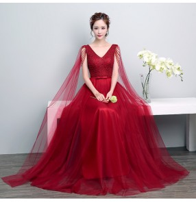 Robe De Soiree Fashion Evening Dress The Married Banquet Elegant Wine Red Lace Flower Long Party Prom Dresses