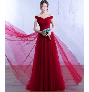 Robe De Soiree Fashion Evening Dress The Married Banquet Elegant Wine Red Lace up Long Party Prom Dresses